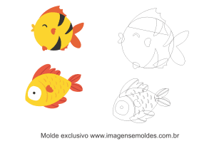 Molde Fundo do Mar - Peixes - Molde para EVA - Feltro e Artesanato