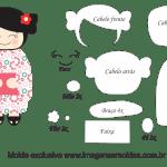 Molde Kokeshi – Floral – Moldes de Feltro – EVA e Artesanato