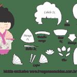 Molde Kokeshi – Floral Rosa – Moldes de Feltro – EVA e Artesanato