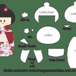 Molde Kokeshi – Floral Vermelho – Moldes de Feltro – EVA e Artesanato