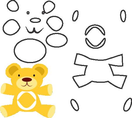 Molde de ursinhos para eva - feltro e artesanatos