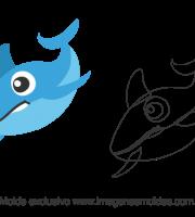 Molde Fundo do Mar - Baleia Azul - Molde para EVA - Feltro e Artesanato