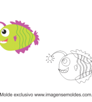 Molde Fundo do Mar - Peixe Luz - Molde para EVA- Feltro e Artesanato