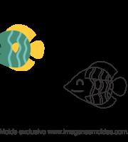 Molde Fundo do Mar - Peixe Verde - Molde para EVA - Feltro e Artesanato