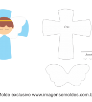 Molde Natal - Anjinho Cruz - Moldes de EVA - Feltro e Artesanato