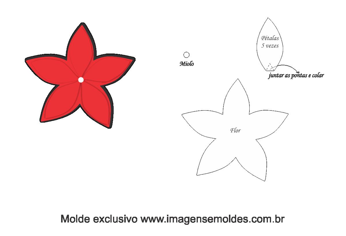 Aparador Imaginus Tabaco ~ Molde Natal Flor 1 Moldes de Feltro EVA e Artesanato