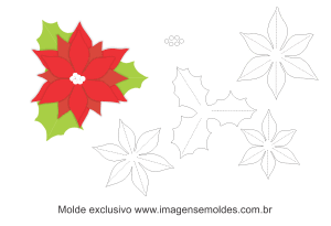 Molde Natal - Flor 3 - Moldes de EVA - Feltro e Artesanato