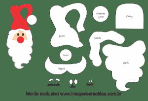 Molde Natal - Papai Noel Porta - Moldes de EVA - Feltro e Artesanato