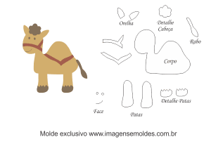 Molde de Bichinhos - Camelo - para EVA - Feltro e Artesanato