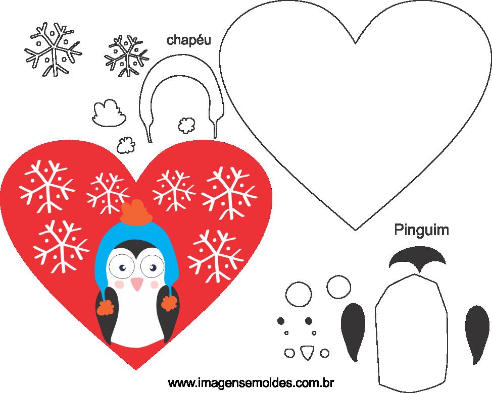Molde de Natal Para Feltro, Eva e Artesanato – Coração 03
