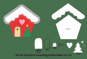 Molde Natal - Casinha - Moldes de EVA - Feltro e Artesanato