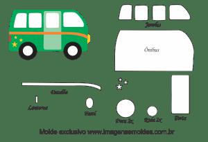Molde Transportes - Ônibus - para EVA, Feltro e Artesanato