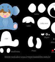 Molde de Animais Baby - Elefantinho - para EVA, Feltro e Artesanato