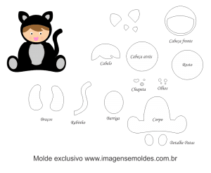 Molde de Animais Baby - Gatinho Baby - para EVA, Feltro e Artesanato