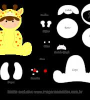 Molde de Animais Baby - Girafa - para EVA, Feltro e Artesanato