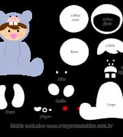 Molde de Animais Baby - Hipopótamo - para EVA, Feltro e Artesanato