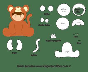Molde de Animais Baby - Macaco - para EVA, Feltro e Artesanato