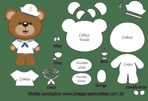 Molde De Marinheiro Urso Marinheiro Para Feltro Eva E Artesanato
