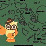Molde de animal coruja 1 para Eva, Feltro e Artesanato