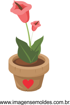 Imagem Flor no vaso Vetorizada 01 , Imagem Editável