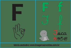 Imagens, Cartazes de Letras em Libras Alfabeto - Letra F