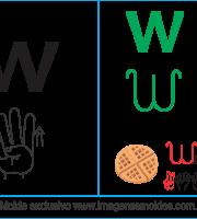Imagens, Cartazes de Letras em Libra Letra W - Letra W Alfabeto
