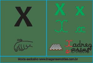 Imagens, Cartazes de Letras em Libra Letra X - Letra X Alfabeto