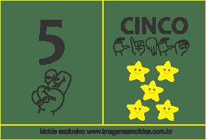 Imagens de Números em Libras Número 5