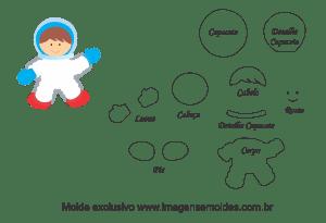 Molde Menino Astronauta para EVA, Feltro e Artesanato