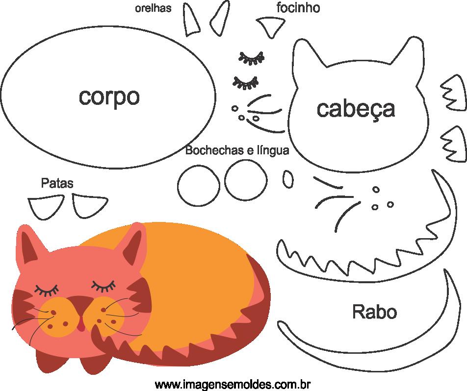 Molde de animal, gato2, para eva, feltro e artesanato