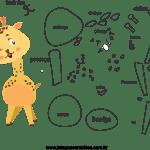 Molde de animal girafa 2 para Eva, Feltro e Artesanato