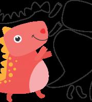 Molde de Dinossauro para Feltro, Eva e Artesanato
