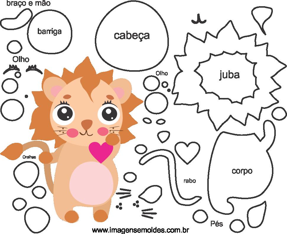 Molde de leão para Eva, feltro e Artesanato