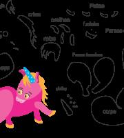 Molde de animal unicórnio1, para feltro, Eva e Artesanato