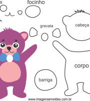 Molde de animal ursinho1 para Eva, feltro e Artesanato