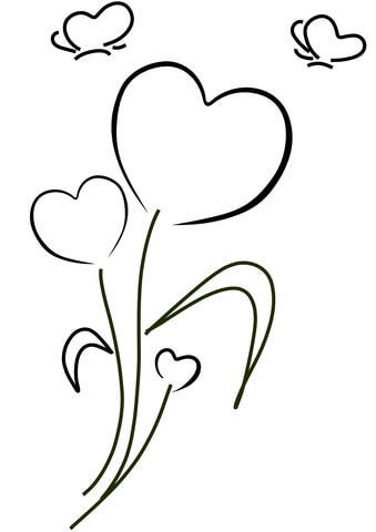 Desenhos para colorir de cora es e flores for Disegni di cuori da stampare gratis