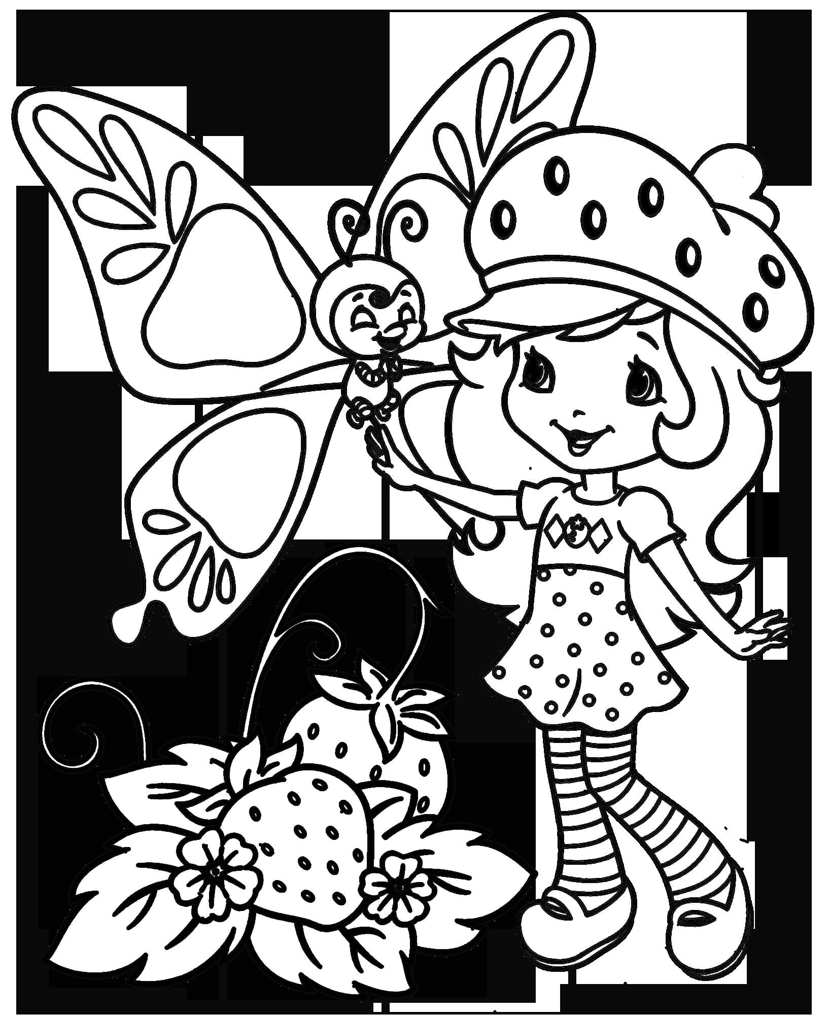desenhos para colorir moranguinho com a borboleta
