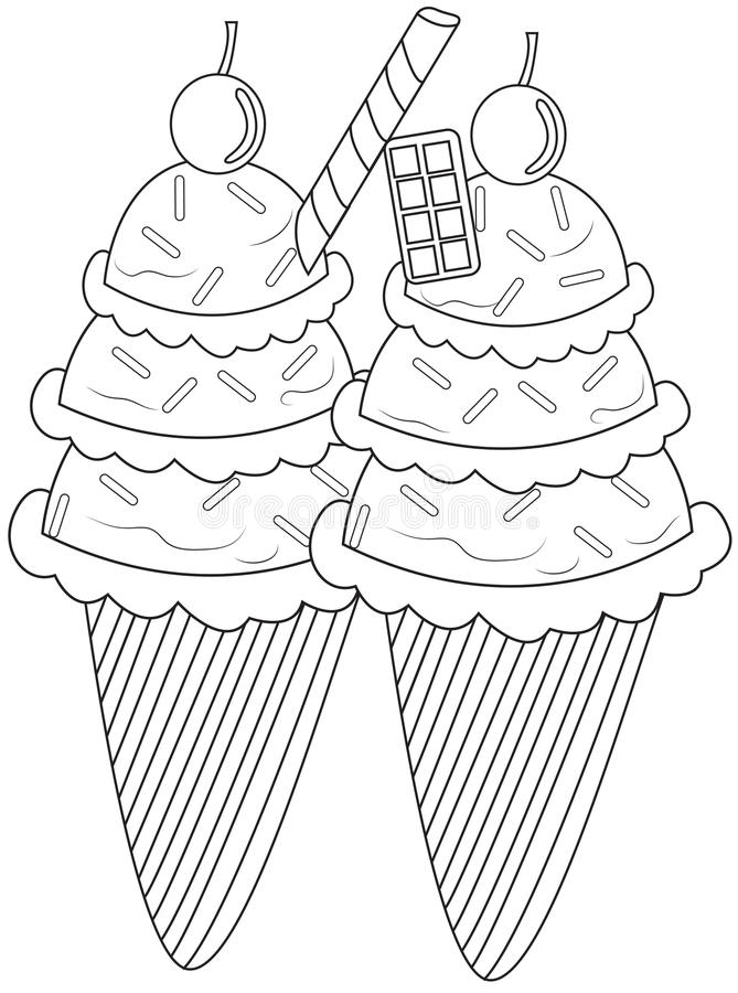 Cake Cone Coloring Page