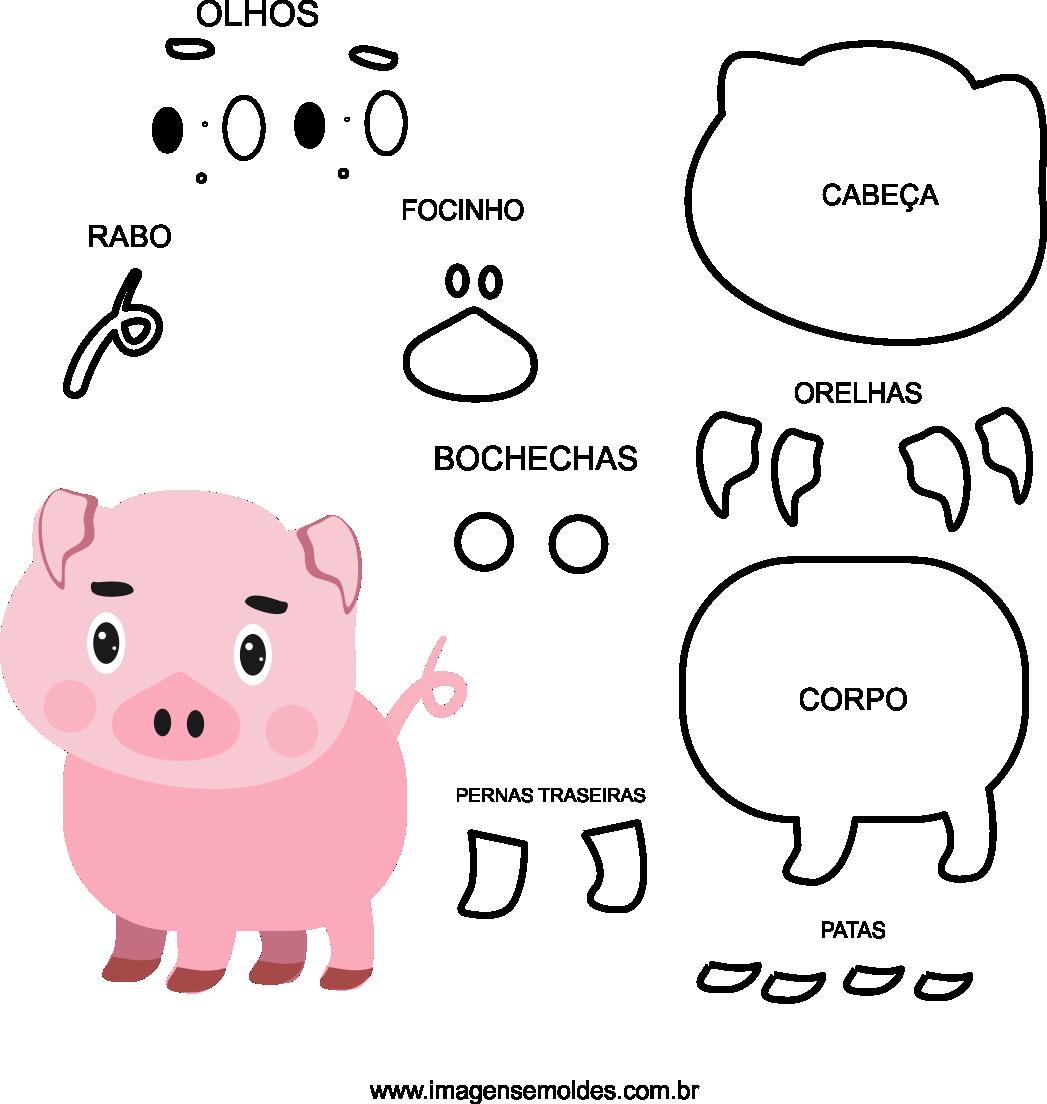 Molde de animal, porco 1 para eva, feltro e artesanato