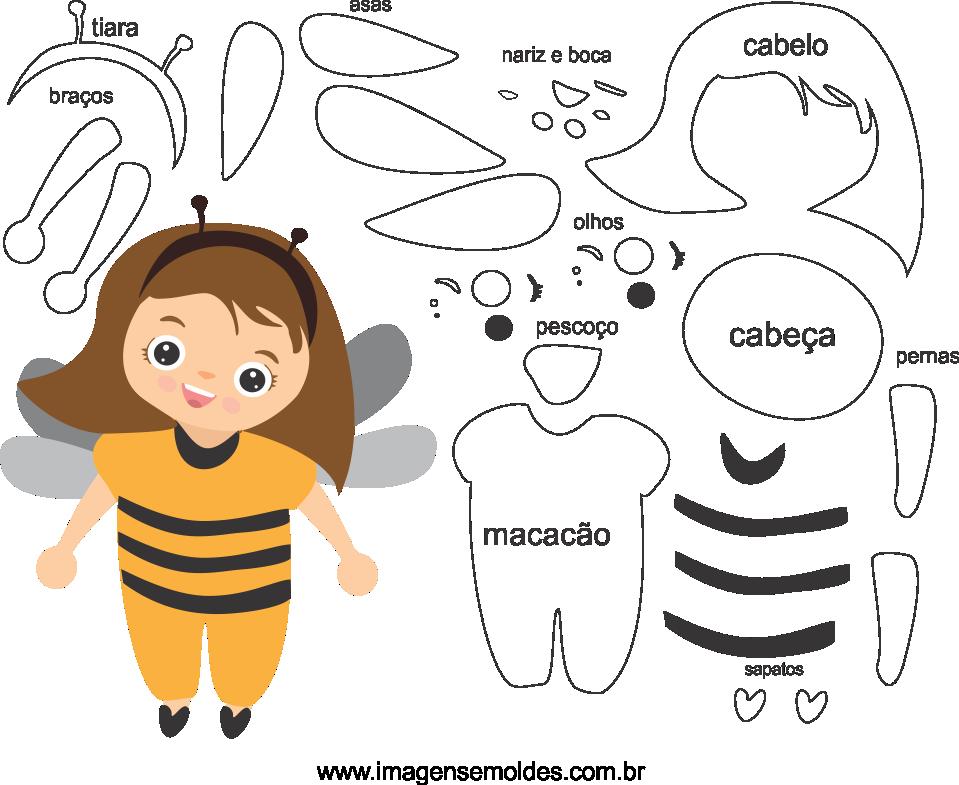 Molde de abelha 1 para eva, feltro e artesanato