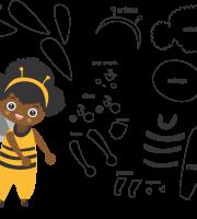 Molde de abelha 2 para feltro, eva e artesanato