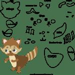 Molde de animal esquilo 2 para Eva, Feltro e Artesanato