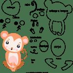 Molde de animal macaco 1 para Eva, Feltro e Artesanato