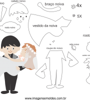 Molde de casamento 1 para eva, feltro e arteasnato
