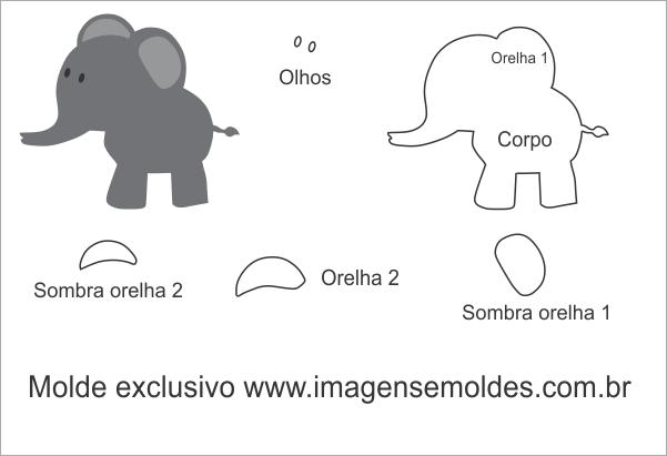 Molde De Elefante Em Pé Para Feltro Eva E Artesanato