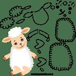 Molde de Ovelha 2 para Feltro – EVA e Artesanato