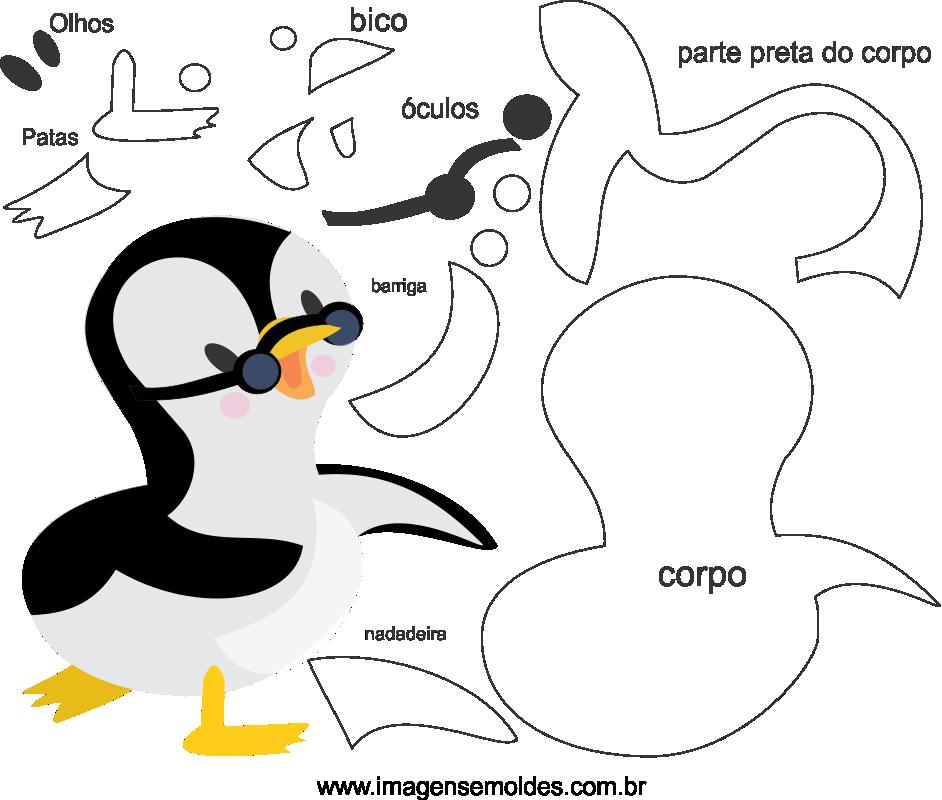 Molde de Pinguim para Eva, feltro e Artesanato