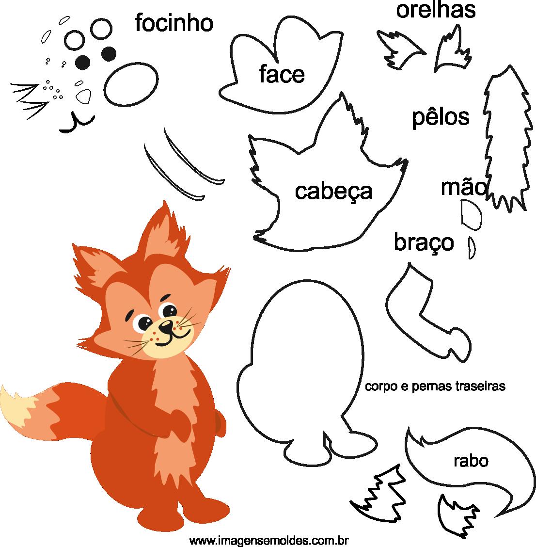 molde de animal, raposa2, para eva, feltro e artesanato
