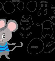Molde de Rato 2 para eva, feltro e artesanato