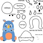 Molde de animal rinoceronte1 para Eva, Feltro e Artesanato